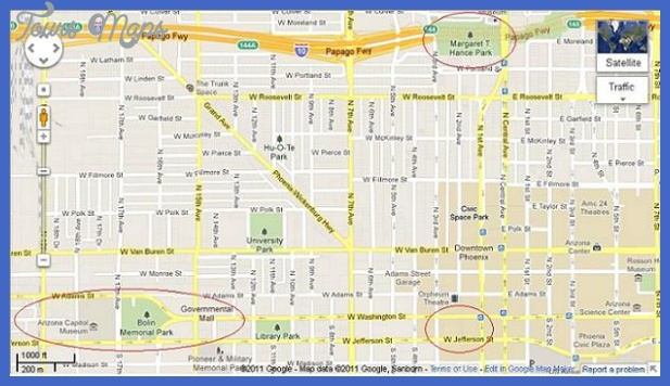 Phoenix Map Tourist Attractions ToursMapsCom – Tourist Map Of Arizona