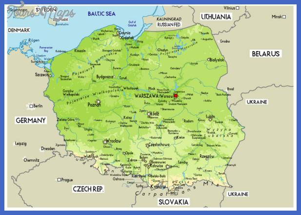 poland physical map Poland Map