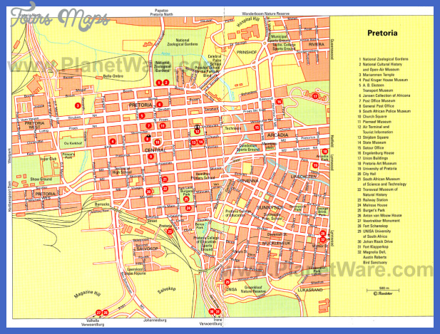 pretoria map Pretoria Map Tourist Attractions