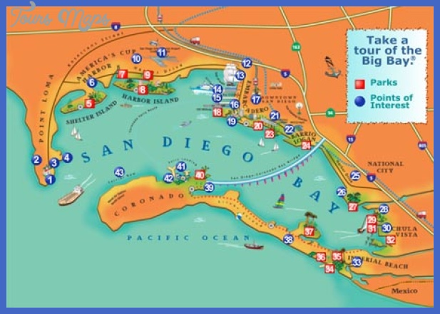 san diego bay map 1 San Diego Map Tourist Attractions