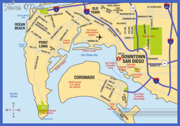 San Diego Map Tourist Attractions ToursMapsCom – Tourist Map San Diego