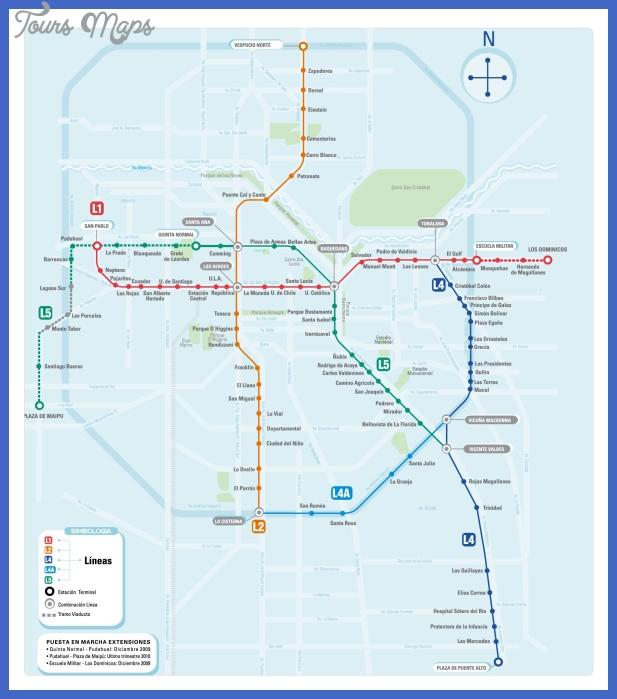 Santiago Subway Map.Chile Metro Map Toursmaps Com