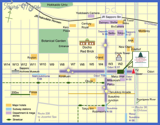 Sapporo Map Tourist Attractions 4jpg ToursMapscom