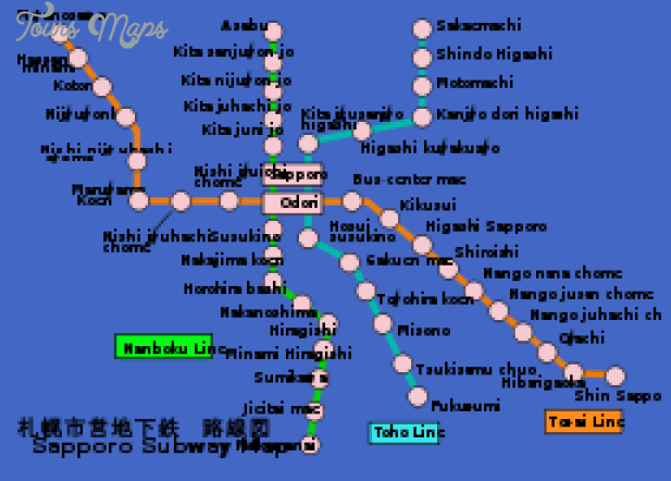 sapporo subway map 0 Sapporo Subway Map