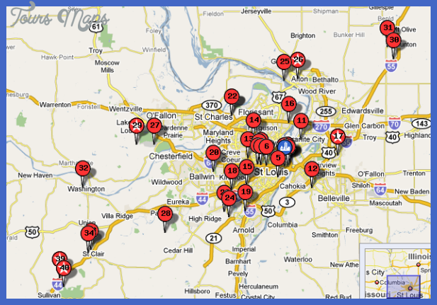 St Louis Map Tourist Attractions ToursMapsCom – Tourist Attractions Map In St Louis
