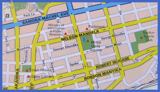street map in the southerneast africa road atlas1 Harare Map Tourist Attractions