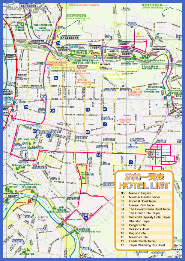 tapei tourist map Taichung Map Tourist Attractions