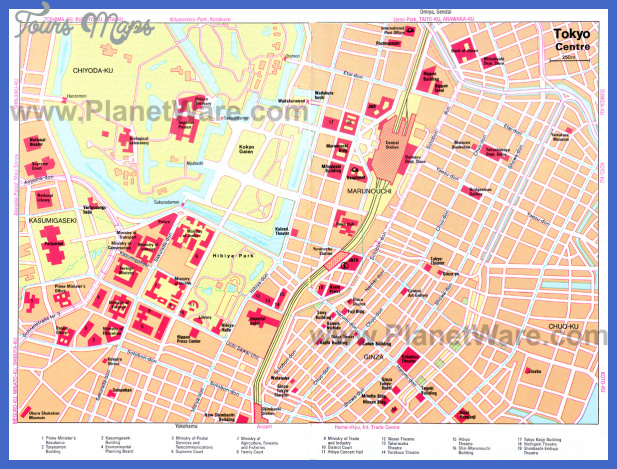 tokyo centre map Tokyo Map Tourist Attractions