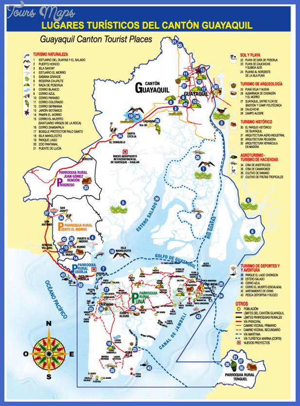 tourist attractions in guayaquil canton Ecuador Map Tourist Attractions