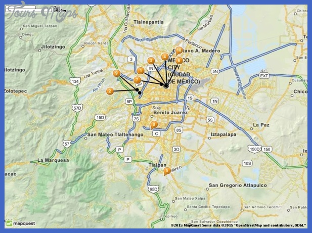 tourist attractions in mexico city map Mexico City Map Tourist Attractions