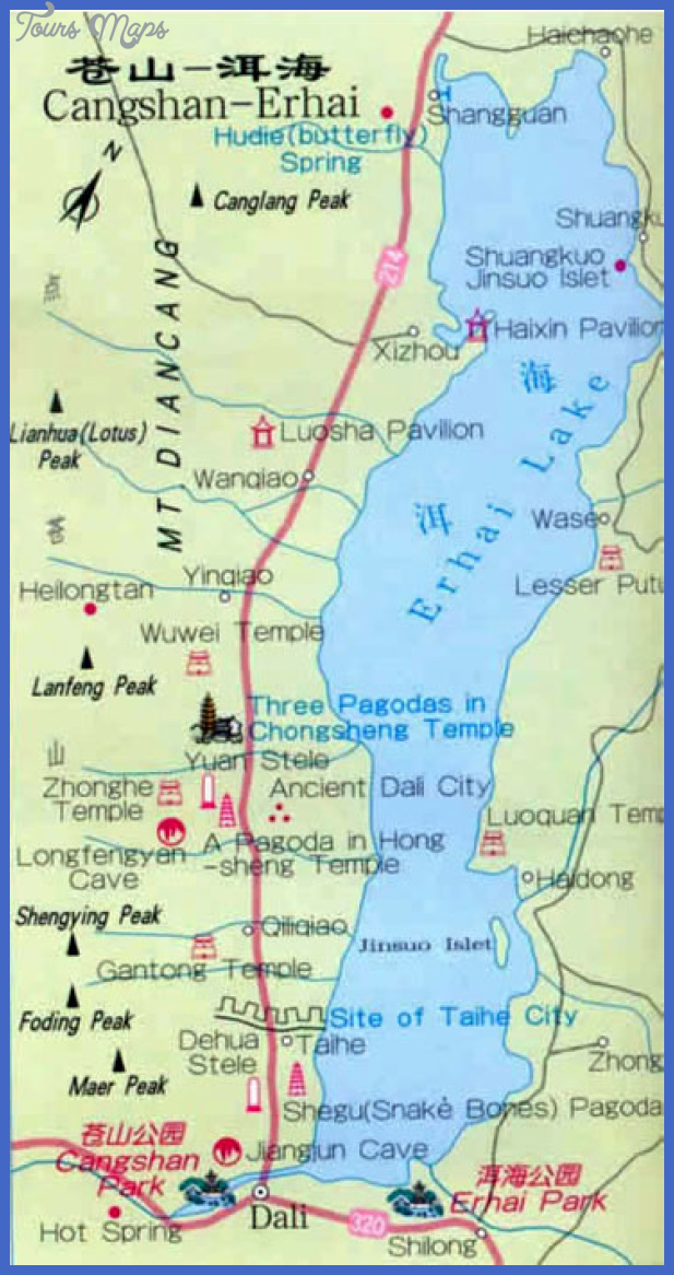 tourist map of dali cangshan erhai Tianjin Map Tourist Attractions