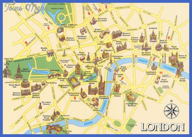United Kingdom Map Tourist Attractions ToursMapsCom – Map Of London Tourist Sites