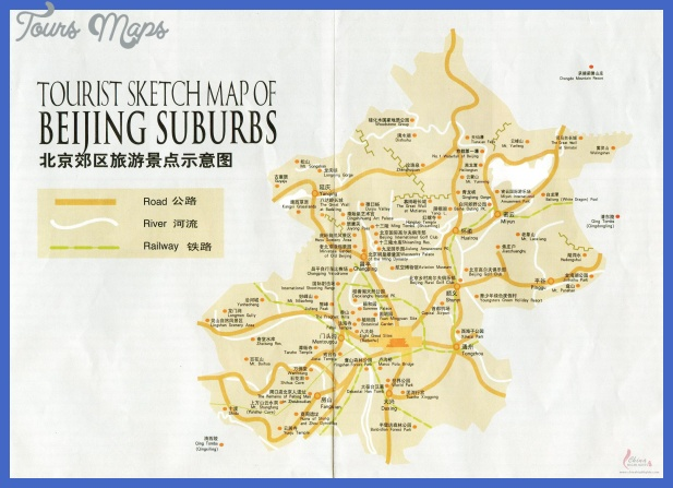 tourist sketch map beijing suburbs Beijing Map Tourist Attractions