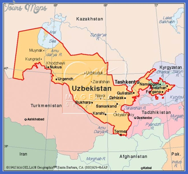 uzbekistan map1 Uzbekistan Map