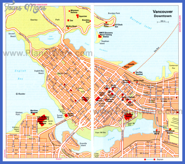 vancouver map Canada Map Tourist Attractions