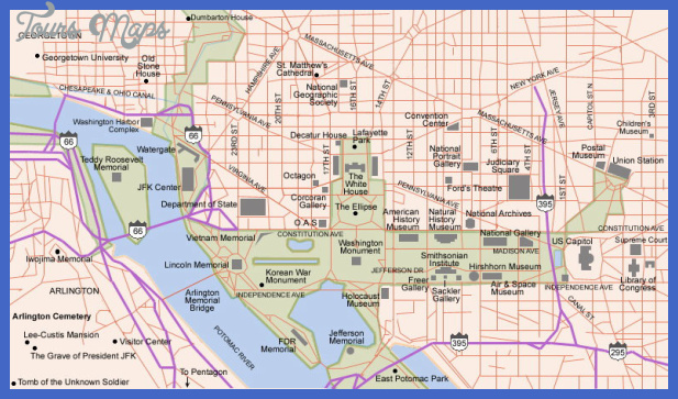 washington dc and arlington va map 1 Washington Map Tourist Attractions