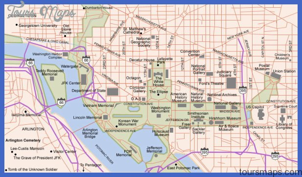 Washington, DC and Arlington, VA Map - Tourist Attractions