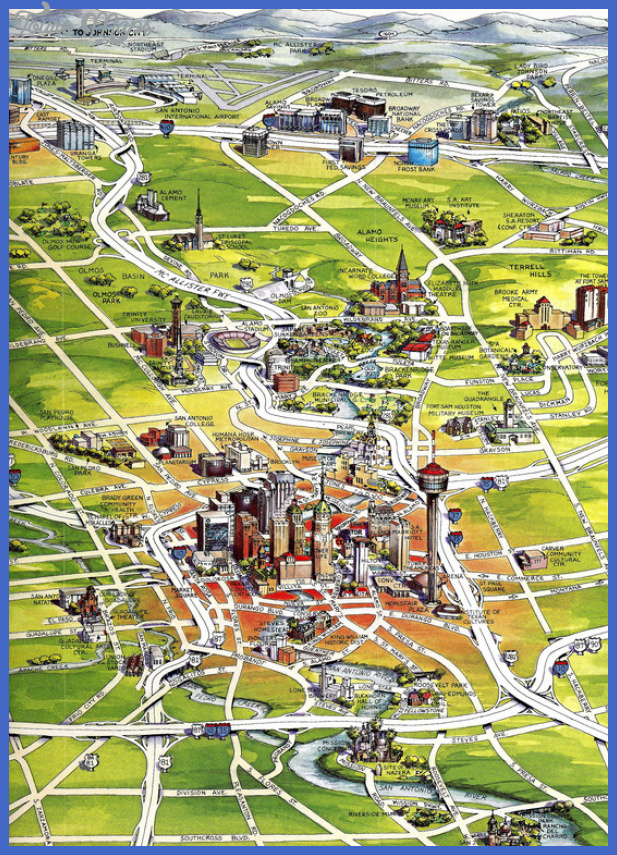 1 1296399596 caricature map of san antonio w attractions San Antonio Map Tourist Attractions