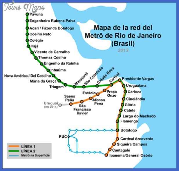 350px mapa de metro rio Rio de Janeiro Metro Map