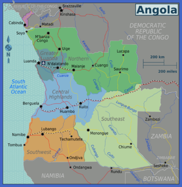 450px angola regions map Angola Map Tourist Attractions