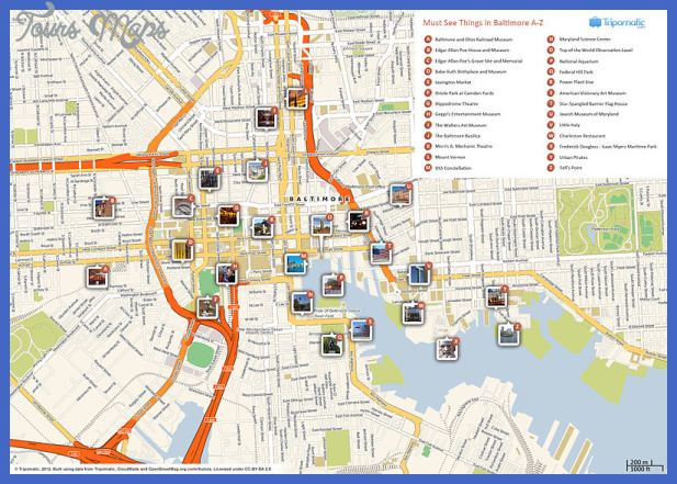 800px baltimore printable tourist attractions map Baltimore Map Tourist Attractions