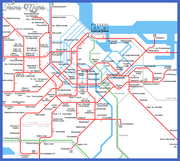 amsterdam tram map centre Netherlands Metro Map