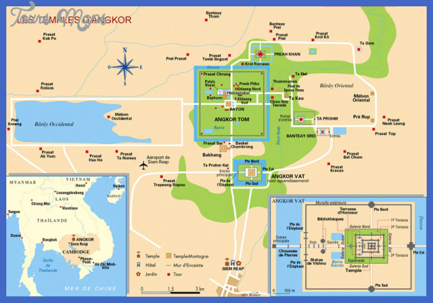 angkor map Cambodia Map Tourist Attractions