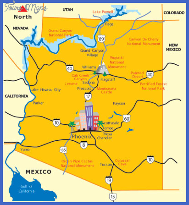 Glendale Map Tourist Attractions ToursMapsCom – Arizona Tourist Attractions Map