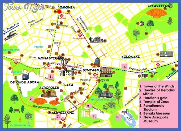 athens map tourist attractions  1 Athens Map Tourist Attractions
