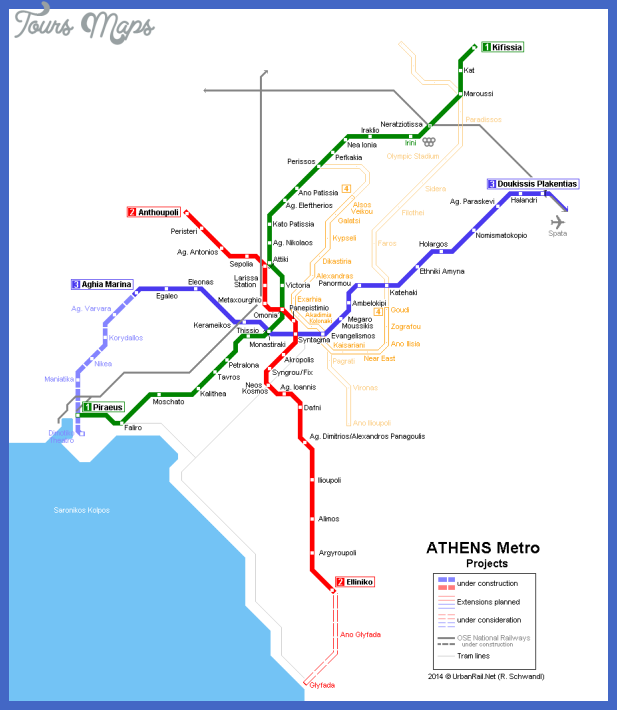 athens metro projects map Athens Metro Map