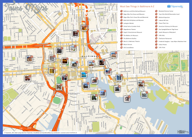 baltimore attractions map large Fort Wayne Map Tourist Attractions