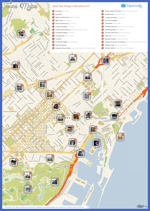 barcelona attractions map large Columbus Map Tourist Attractions