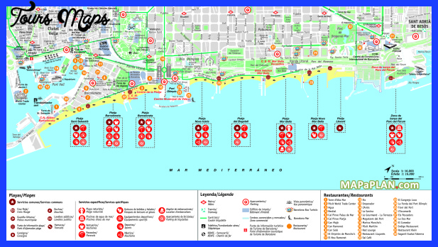 Barcelona Map Tourist Attractions - ToursMaps.com ®