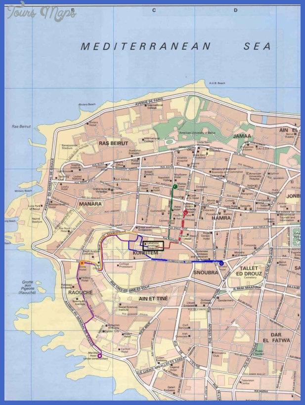 beirut tourist map 4 Beirut Map Tourist Attractions