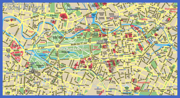Germany Map Tourist Attractions ToursMapsCom – Tourist Map of Berlin