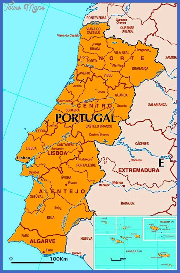 big size detailed portugal political map Portugal Map