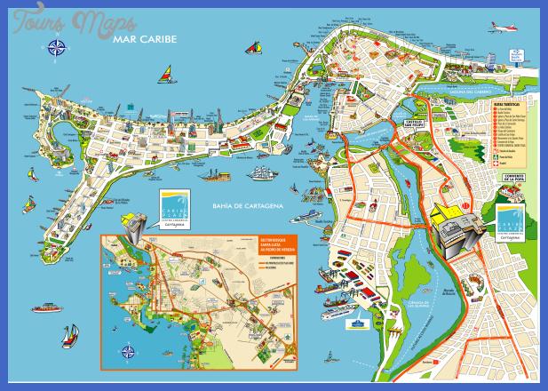 cartagena de indias colombia map 1 Colombia Map Tourist Attractions