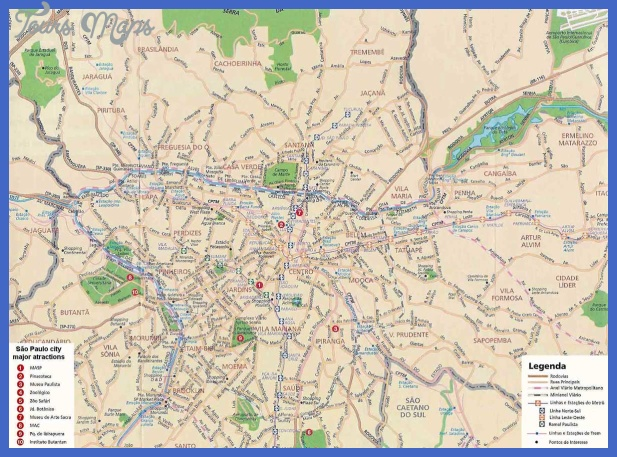 carte sao paulo informations touristiques rues transport Sao Paulo Subway Map