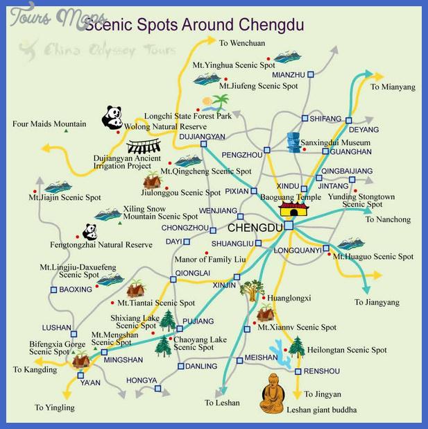 chengdu china tourist map mediumthumb China Map Tourist Attractions