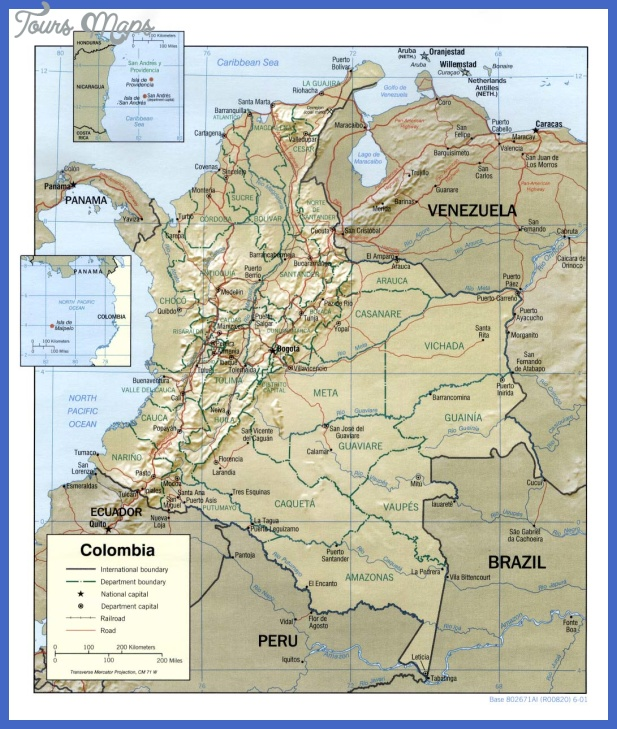 colombia rel 2001 Colombia Map Tourist Attractions