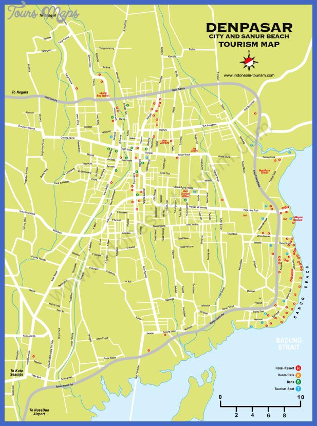 denpasar map 1 Jakarta Map Tourist Attractions