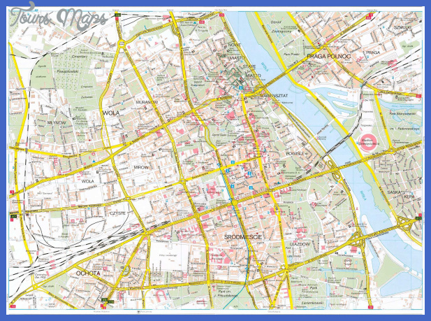 detailed road map of warsaw city center Katowice Map Tourist Attractions