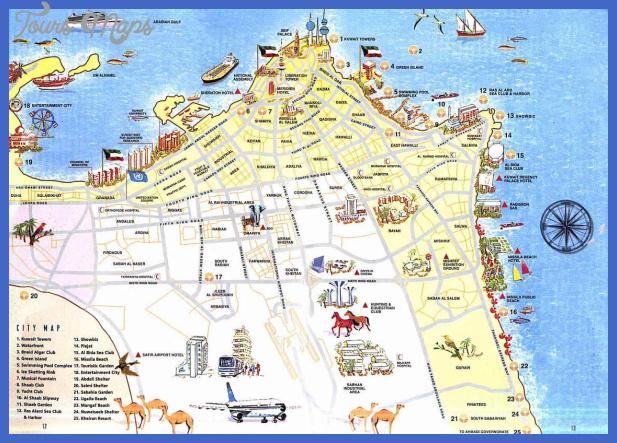 detailed tourist map of kuwait city Kuwait Map