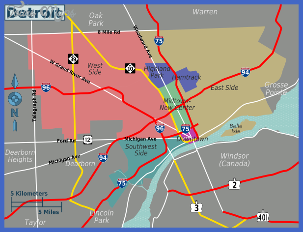 detroit districts map Detroit Map