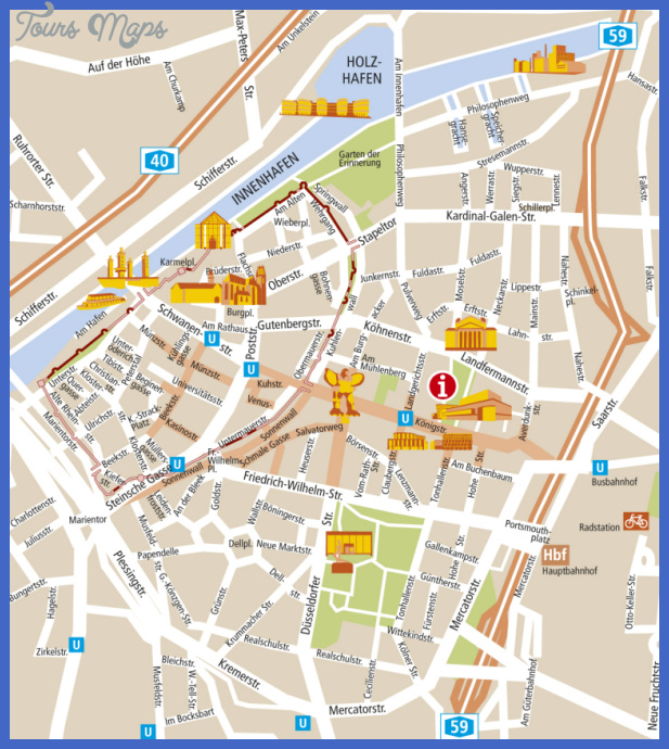 duisburg city map Essen Düsseldorf Map Tourist Attractions