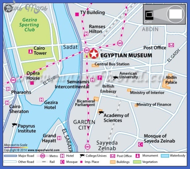 egyptian museum location map Cairo Map Tourist Attractions