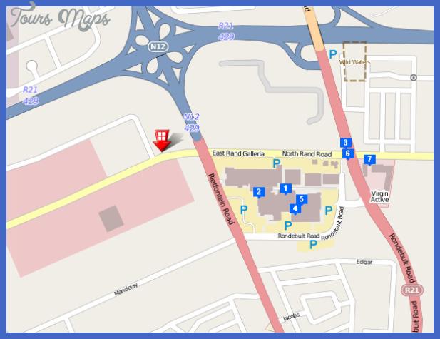 gauteng hotel airport grand hotel main map590x451 Johannesburg East Rand Subway Map