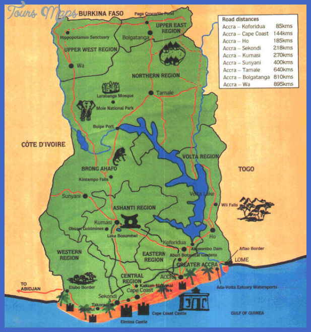 ghana map tourist attractions  1 Ghana Map Tourist Attractions