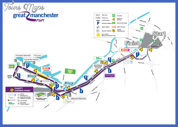 great manchester run 2015 course map l Manchester Map Tourist Attractions
