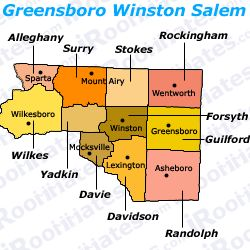 greensborowinstonsalem Winston Salem city Metro Map